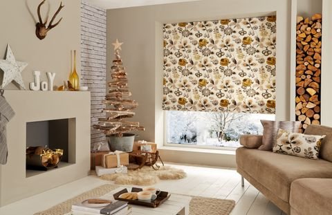 Bohemia Gold Roman blind Christmas