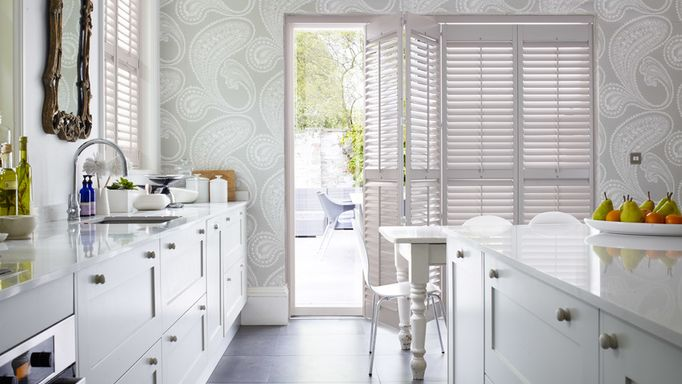 Tracked shutters kitchen