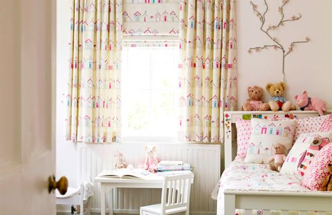 Beach Huts Pink Roman blind and curtains