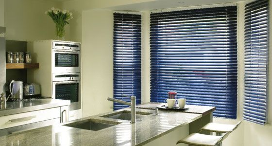 Navy metal Venetian blinds -