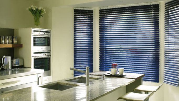 Navy metal Venetian blinds