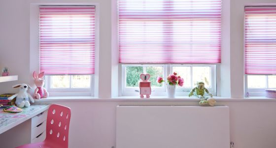 Pink pleated blind childrens bedroom -