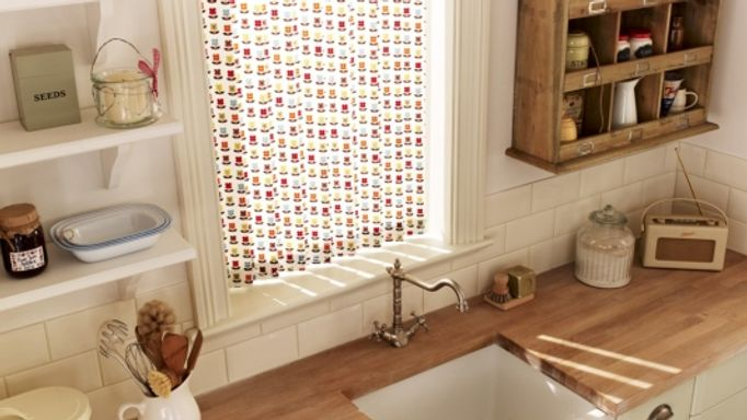 Floral Vertical Blind in a kitchen window - Nelda Fruity Vertical blind