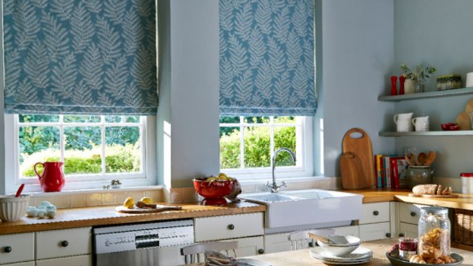 Turquoise Fern Patterned Roman Blind in the Kitchen - Safi Turquoise Roman blind