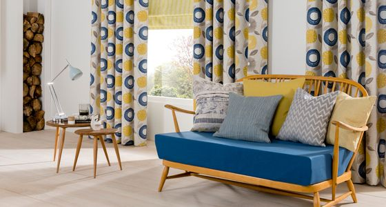 scandi Roman blind and curtain living room -