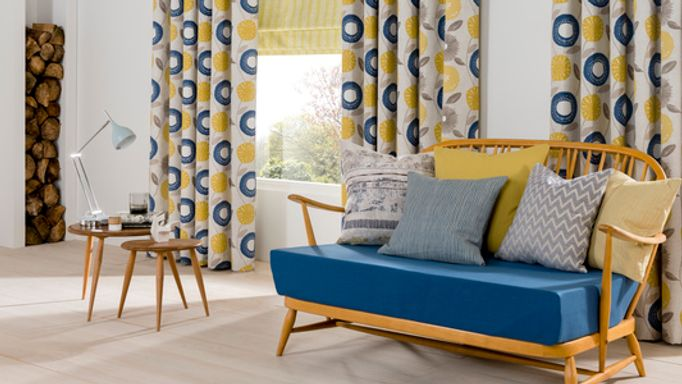 scandi Roman blind and curtain living room