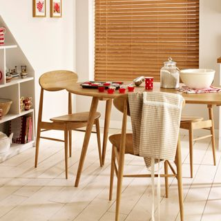 Haywood Sand Wooden blind kitchen