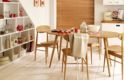 Haywood Sand Wooden blind in kitchen with dining table and red accent decor
