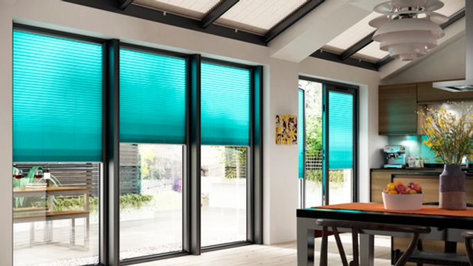 Midas Turquoise Blue Pleated blind In the kitchen