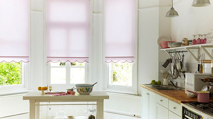 Pink Roller blind scalloped hem