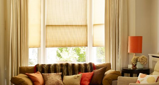 Layered curtains and Pleated blinds -
