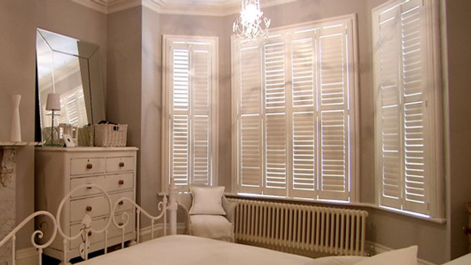 White full height shutters