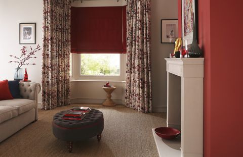 Jewel Edit Ruby Roman blind and curtains