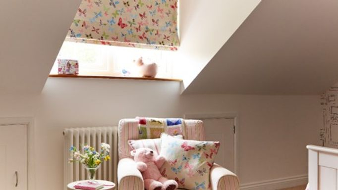 nursery butterfly roman blind