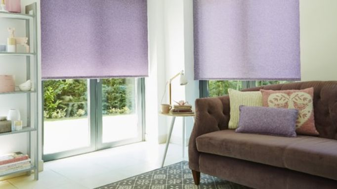 Purple Roller blind in the living room