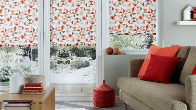 Patterned Perfect Fit Roller blind in the living room