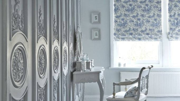 Toille French Blue Roman Blinds