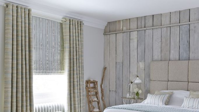 Patterned bedroom roman blinds and curtains bedroom
