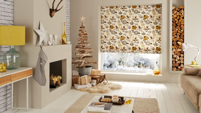 Floral Roman blind in living room