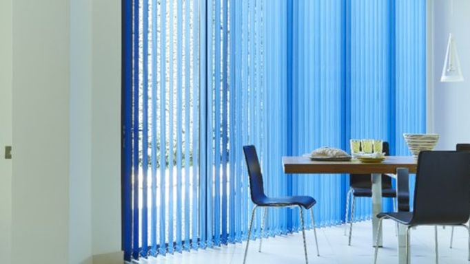 Blue Vertical blinds in dining room