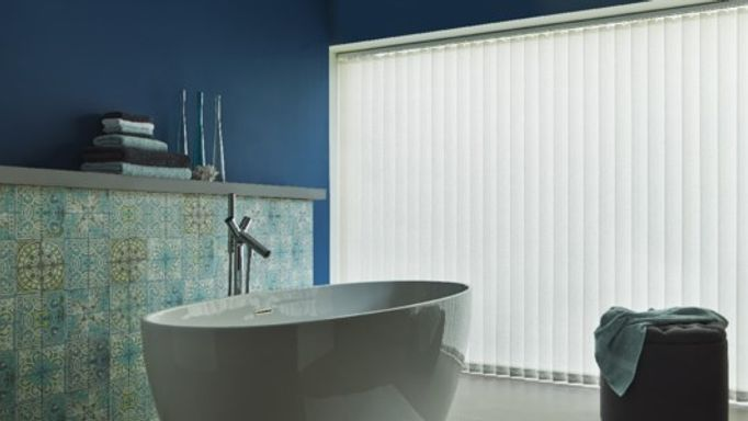 Vertical blinds in bathroom