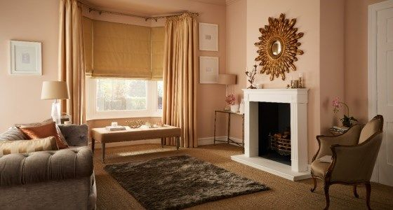 roman blind and curtain living room -