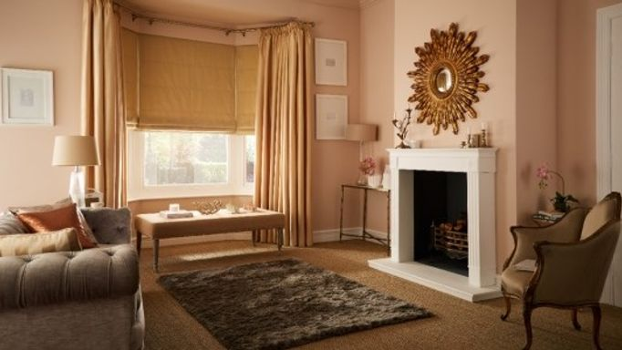 roman blind and curtain living room