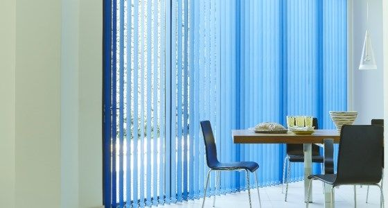 Blue vertical blinds for french windows kitchen -