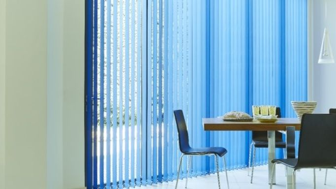 Blue vertical blinds for french windows kitchen