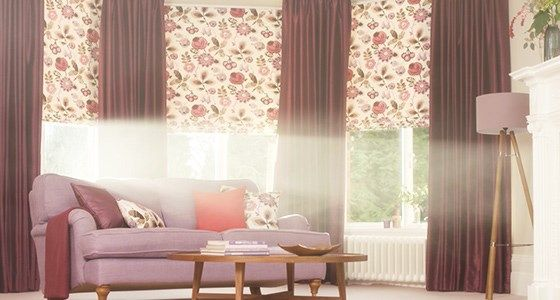 Patterned roman blind and curtain living room -