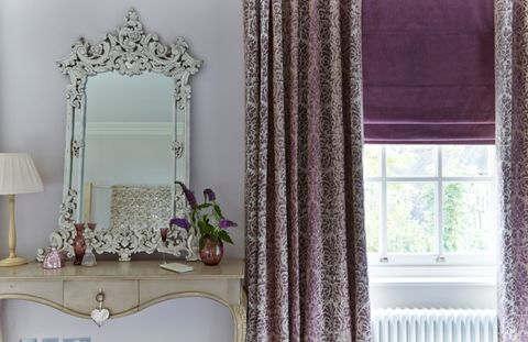Baroque Mulberry Curtain with Opulence Amethyst Roman blind