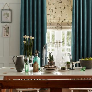 Jewel Edit Jade Roman blind and curtains
