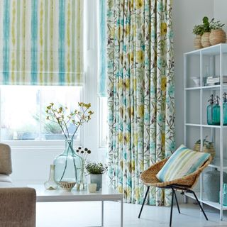 House Beautiful Origins Citrine curtains and Cascade Citrine Roman blind