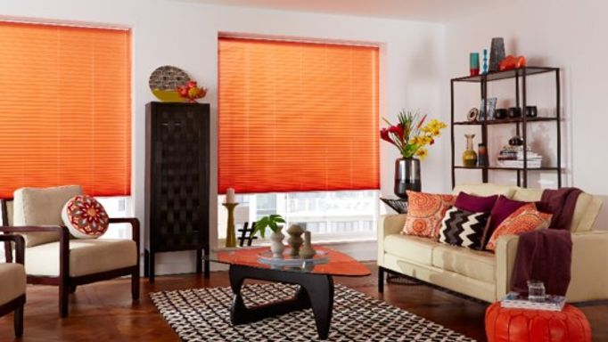 living room crushed spice pleated blind