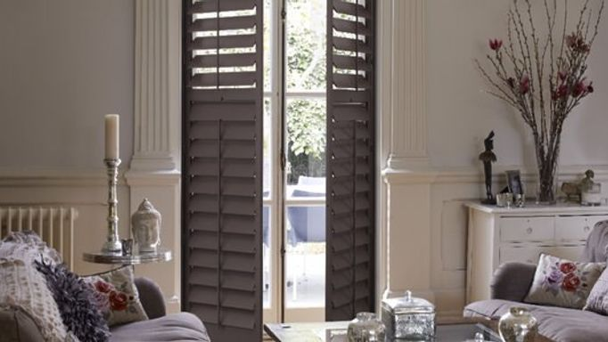 Grey shutters in living room