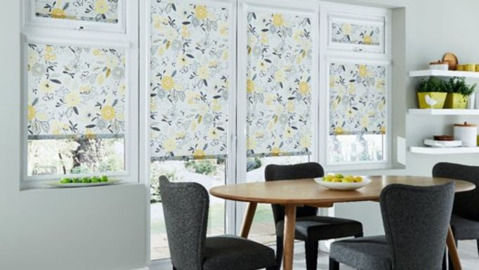 Floral Patterned Perfect Fit blinds in dining room
