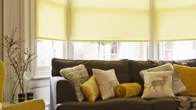 Yellow living room Roller blind