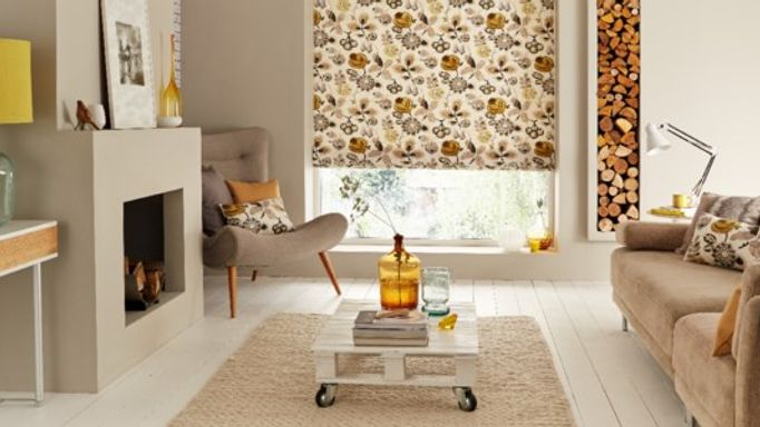 Bohemia gold roman blinds in living room