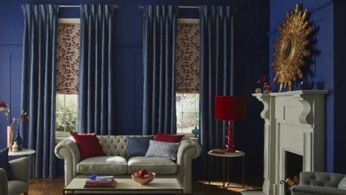 Blue Living room Element Denim Blue Curtains