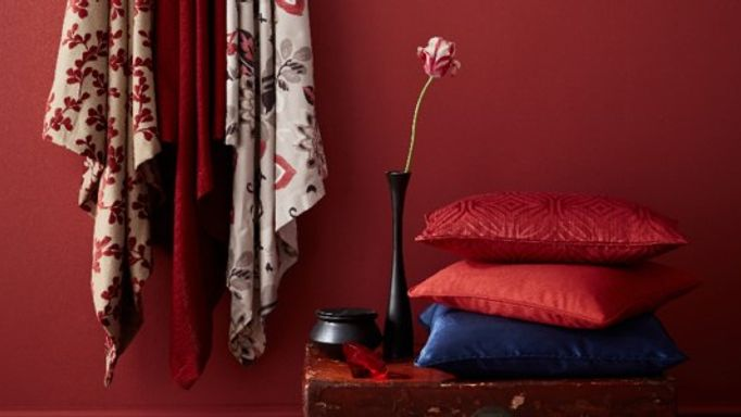 Element Vermillion and Tetbury Red Cushions