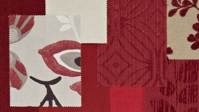 Ruby red fabric moodboard