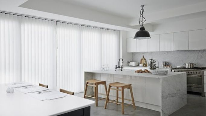 white vertical kitchen blinds