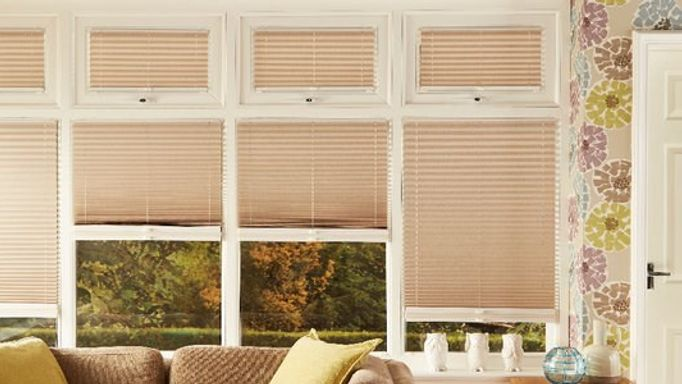 beige perfect fit pleated blinds