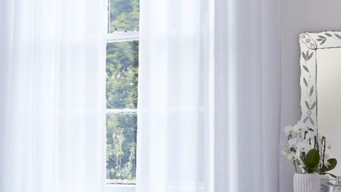 pristine white voile curtains