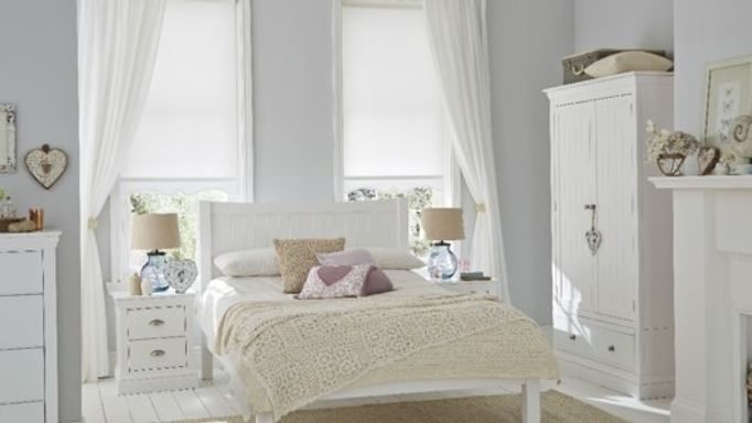 white bedroom roller blinds and curtains