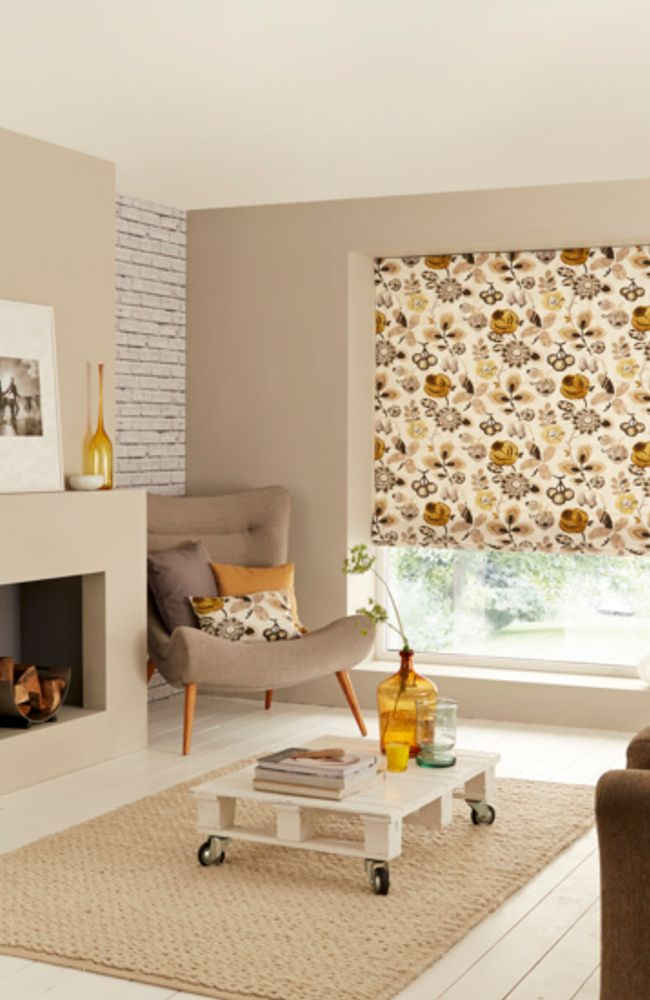 Floral Print Interior trends - Bohemia Tango Roman Blind in a Livingroom