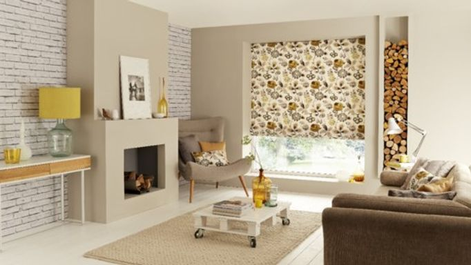 Jewel Edit: Bohemia Gold Roman blind in Scandi room