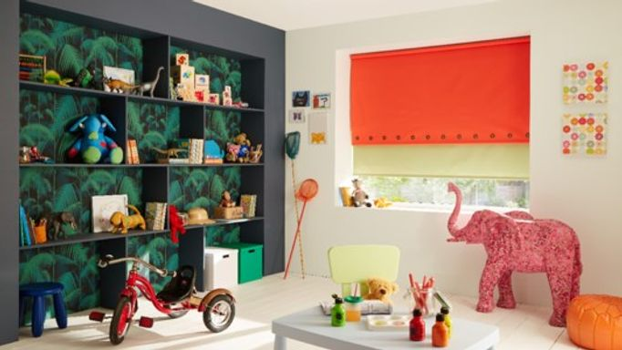 Acacia fiery orange and cordova green roller blinds in playroom