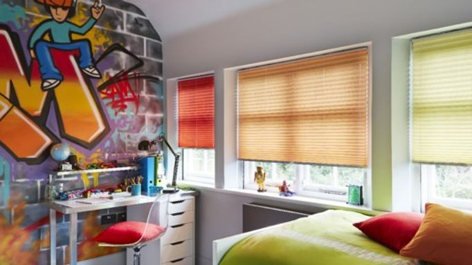 multicoloured pleated blinds in kids bedroom