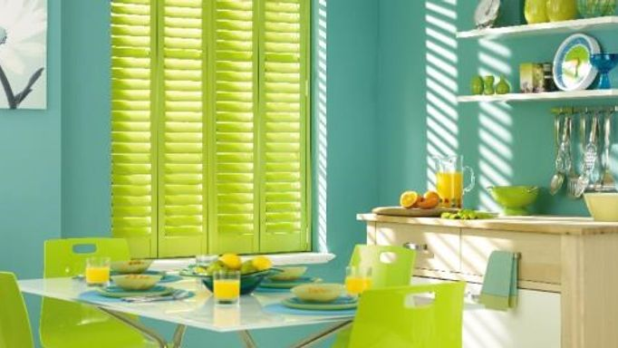 lime green kitchen diner shutters
